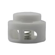 Flyshop Plastic Spring Stop Double Holes Lanyard Cord Locks End 10PCS White Small Size