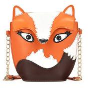 liangdongshop Girls Cute Owl Fox Pattern PU Leather Shoulder Bag Cross Body Purse Metal Chain
