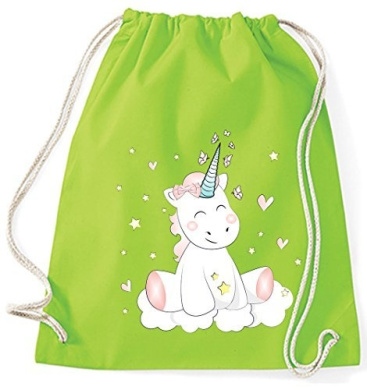 Jute Bag Gym Bags Sports Bag Cloth bag Cotton bag bag Carrybag Backpack Hipster Cotton Gymsack Unicorn Unicorn cutie - Lime Green