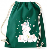 Jute Bag Gym Bags Sports Bag Cloth bag Cotton bag bag Carrybag Backpack Hipster Cotton Gymsack Unicorn Unicorn cutie - Green