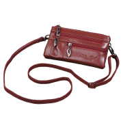 Genuine Leather Women's Wristlet Purse for iPhone 7 Plus 6S,for for for for for for for for for Samsung Galaxy S7 Ladies Wallet Phone Holder with Multiple Zipper Pockets , Small Cross Body Shoulder Bag ,Clutch Handbag+Keyring