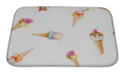 Gear New Bath Rug Mat No Slip Microfiber Memory Foam, White Pattern With Ice Cream Cones Isolated On White Backgrou, 24x17