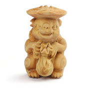 CLHK Cartoon turtles rabbit boxwood carving hand parts of the jewellery wood crafts collectibles , diameter 46mm high 65mm