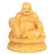 CLHK Boxwood carved Decoration Sitting Lotus Maitreya car Decoration Jushi home fengshui Decoration collection statues , high 100mm long 89mm wide 75mm