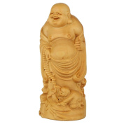 CLHK Art objects Boxwood three sisters Maitreya Decoration town house home fengshui Decoration Collection statue , high 120 diameter 50mm