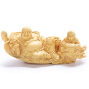 CLHK By Maitreya Buddha boxwood carving car fengshui Decoration Home Decoration Lucky Safe Collection Statue , diameter 210mm high 90mm