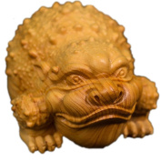 CLHK Boxwood Wood Carving Lucky Toad Business Gifts Auspicious Animals Carving Decoration Handles Collections Statues , 70*40*50