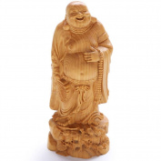 CLHK Take a fan Mile Wooden Crafts boxwood hand-carved sculpture collection of statues , diameter 60mm high 150mm