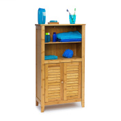 Relaxdays LAMELL Bamboo Bathroom Cabinet 92 x 50 x 25 cm with 2 Handles & Doors, Bathroom Cabinet or Telephone Shelf, Bathroom Cabinet Cupboard with Shelves Wooden Telephone Table, Natural