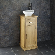 Clickbasin Oval Countertop Sink With 37cm by 35cm Space Saving Oak Single Door Cabinet Set