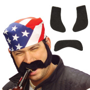 Whiskers with sideburns false beard with burnsides Black adhesive Rocker moustache Fake moustache Biker costume accessory carnival