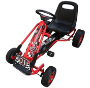 Cool Red Pedal Go Kart Ride - Fully Enclosed Chain Case - Horizontally Adjustable Seat - Oscillating Axle