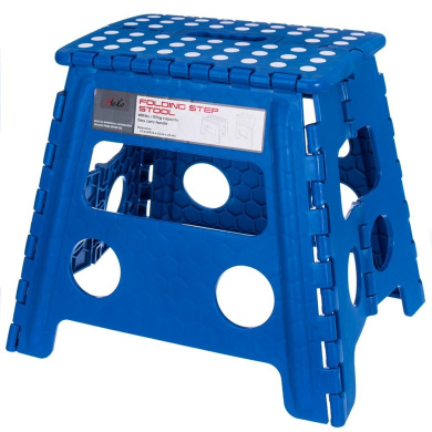Acko 41cm Super Strong Folding Step Stool for Adults and Kids, Blue Kitchen Stepping Stools, Garden Step Stool, holds up to 200kg (Blue)