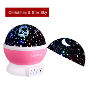Baby Night Light Lamps, Romantic 360 Degree Rotating Santa Claus with Christmas Gift Cover & Star with Sky Moon Cover Projector Lights Colour Changing LED For Children Kids Baby Nursery Gift