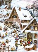 Snow Scene Alpine Village Milk Chocolate Advent Calendar