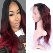 Tony Beauty Hair Dark Root Ombre Colour 360 Lace Band Frontal 22.5x 4x 2 #1B/99J Body Wave 360 Full Lace Band Frontal Closure With Baby Hair
