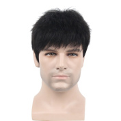 Remeehi Manly Short Fluffy Straight Full Bang None Lace Machine Made Real Human Hair Wig For Men Nature Black