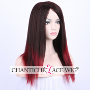 Chantiche Ombre Long Red Yaki Wigs-Relastic Looking Mixed Black Colour Synthetic Non Lace Wig for Ladies Heat Resistant Fibre 60cm