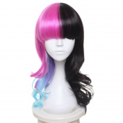 SiYi 50cm Wavy Long Pink Blue Black Mixed Party Girl Wigs Cosplay Melanie Martinez Style Hair
