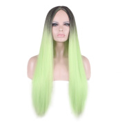 Rise World Wig 75cm Long Straight Dark Roots Black Root to Light Green Hair Wig
