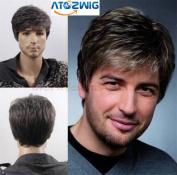 ATOZWIG@Quality Men Short Cool Lolita Black Grey Mix Wig Capless Caps Comb+Clip+Wig Cap
