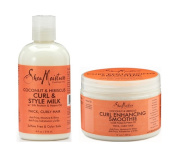 Shea Moisture Coconut and Hibiscus Combination Pack – 240ml Curl & Style Milk & 350ml Curl Enhancing Smoothie