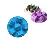 Starworld 6 Slot Cakes Mould, DIY Gingerbread House Shape Pastry Bread Baking Mould / Kitchen Pan Tray Bakeware Tool / Blue