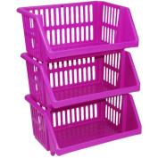 CrazyGadget® Multi Purpose Large Plastic Colour Storage Rack Stand Stacking Stackable Basket - Made In U.K.
