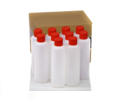 10 x 250 ml plastic bottles with Red Clasp, plastic bottles Klappspritzverschluss bottles, with Round Made of HDPE with Hinged with Octopus ® Beschriftungsetiketten 10