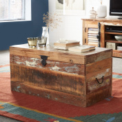 California Wild West Wooden Table Trunk Box Storage with Metal Fixtures