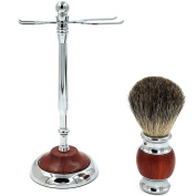 Authentic Rosewood Art Shaving Stand Razor Brush Stand Holder-Genuine Badger brush-Stainless Steel Weighted Base for Gent mens