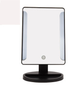 LED Lighted Makeup Mirror Touch Switch Mirror with Tray Backstage Portable Tabletop Brightness Adjustable Vanity Mirror 28cm
