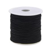 KeyZone 1 mm Elastic Cord Thread Beading String Cords, 100 Metres, Black