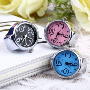 Coolrunner 3pc Creative Fashion Jewellery Lady Girl Steel Round Elastic Quartz Finger Ring watcht