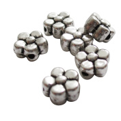 Heather's cf 200 Pieces Silver Tone-Flowers-Flat Beads Findings Jewellery Making-6X3mm