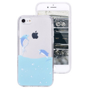 iPhone 7 Clear Case,IKASEFU Creative Hard PC Back+Soft Frame Slim Fit Cute Dolphin Design Clear Silicone Case Cover for iPhone 7 12cm -#18