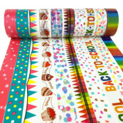 Set of 10 Washi Masking Tape, 5m By 15mm, Different Style, Washi Masking Tape for Party, DIY, B