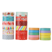 GWHOLE Decorative Christmas Washi Masking Tape Collection for Scrapbooking DIY Crafts and Gift Wrapping, Set of 22
