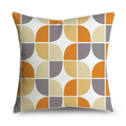 FabricMCC Mid-Century Grey Yellow Orange Connect Box Retro Pattern Square Accent Decorative Throw Pillow Case Cushion Cover 18x18
