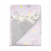 Chick Pea Baby Pink Elephant Soft Mink Printed Blanket with Sherpa Backing