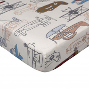 Lolli Living Crib Fitted Sheet Aero Planes Print, Multi