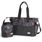 . Nappy Bag Organiser for Moms, Plus Baby Tote Insulated Bottle Sack - Rainbow + Black