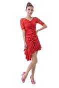 Colorfulworldstore lady Latin Ballroom Dance Dress-mesh sleeves+Slim Irregular unilateral