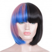 SiYi Fashion Celebrity Melanie Martinez Style Girl Hair BoB Pink Blue Black Mixed Halloween Party Cosplay Wigs