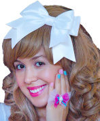 White Hair Bow Clip Alice in Wonderland Inspired Satin Ribbon Lolita Hair Accessory Handmade by Sweet In The City USA