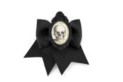 Skull Cameo Black Traditional Hair Bow Clip