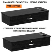 DUO Styling Stations 2 MARKISON SOLID BLACK Wall Mount Station for Beauty Salon Styling Spa