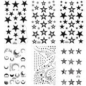 King Horse Black Stars and Moons Temporary Tattoos 6 Sheets