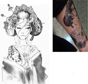 Sexy Body Art Temporary Tattoos Sticker Beauty Geisha Girl Designs Warterproof