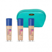 Rimmel Long Lasting Coverage Match Perfection Foundation Kit with Three Colours Ivory, Sand and Classic Beige all in 30ml Bottles with Aquamarine Draizee Leather Cosmetic Bag
